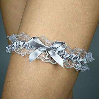 Giarrettiera di pizzo matrimonio sposa biancheria intima regali de nozze addio al nubilato ancora argento