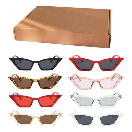 Gafas De Sol Ojo De Gato,QSXX 4 Piezas Gafas De Sol Ojo De Gato Mujer Elegante y Exquisito Gafas De Sol Ojo De Gato Vintage Para Uso Interior Exterior Gafas De Sol Para Mujer Gafas Vintage 4 Colores