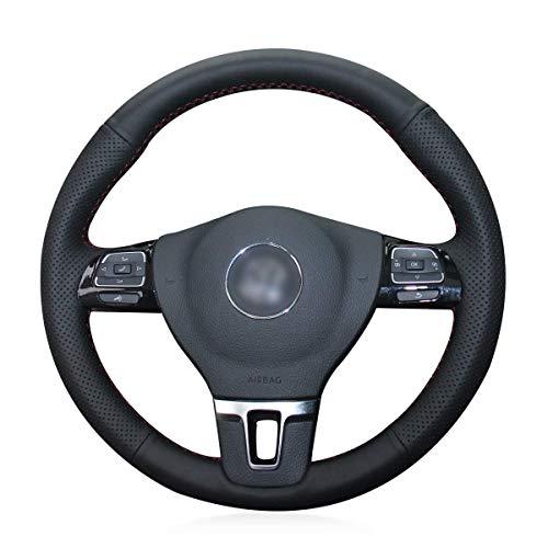 Shining wheat Funda para volante de coche de piel negra para Volkswagen VW GOL Tiguan Passat B7 Passat CC Touran Jetta Mk6