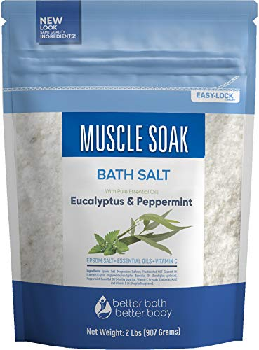 Muscle Soak Bath Salt 32 Ounces Epsom Salt with Natural Peppermint and Eucalyptus Essential Oils Plus Vitamin C in BPA Free Pouch with Easy Press-Lock Seal