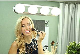 ライフ小屋 メイクアップライト 化粧鏡ライト 4LED電球付き 吸盤付き 女優ミラーライト ミラーヘッドライト 鏡用ライト ledミラーライト ドレッサーライト ハリウッドライト バニティミラーライト 化粧台 洗面台 浴室 (1個セット, 4LEDライト)