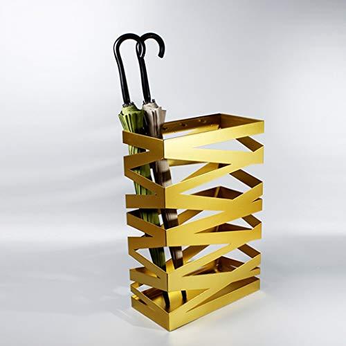 GLJJQMY Portaombrelli Universale in Ferro battuto Vernice Hotel Banca Lobby Moda Ombrello Secchio a Prova di umidità portaombrelli Nero Oro Bianco 61x40x20cm Portaombrelli (Color : Gold)