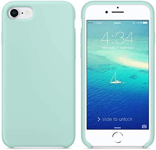 Funda de Silicona Silicone Case para iPhone SE 2020, iPhone 7, iPhone 8, Tacto Sedoso Suave, Carcasa Anti Golpes, Bumper, Forro de Microfibra (Verde Mar)