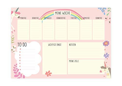 Friendly Fox Tapete de escritorio de papel con diseño de unicornio, bloc de notas XXL, bloc de notas A2, 25 hojas, planificador semanal, para niños, niñas, adolescentes