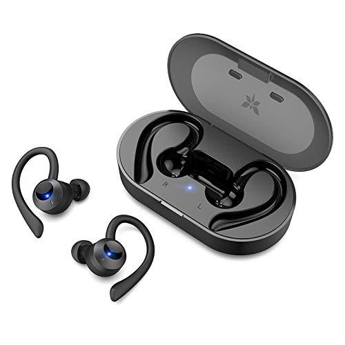 Axloie Wireless Earbuds Sport, Bluetooth 5.0 Headphones True Wireless Deep Bass in-Ear Mini TWS Stereo IPX7 Waterproof 25H Playtime Wireless Earphones with Charging Case for Running Workout Gym Black