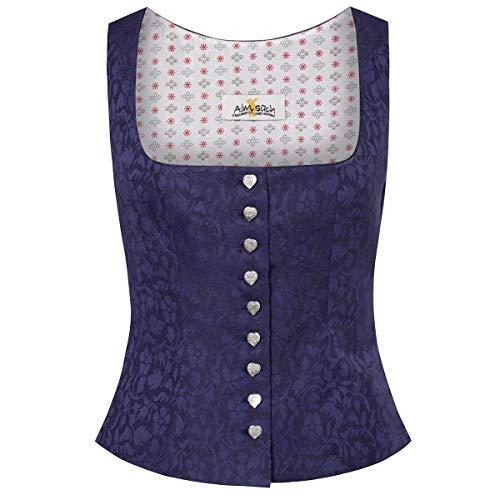 Almsach Damen Trachten-Mode Trachtenmieder Nina in Blau traditionell, Größe:32, Farbe:Blau