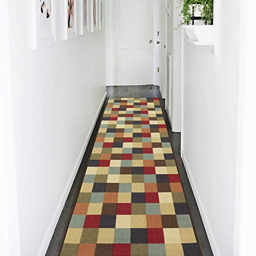 Ottomanson Ottohome Collection Multi-Color Contemporary Checkered Design Modern Area Rug with Non-Skid (Non-Slip) Rubber Backing, 31' L x 118' W