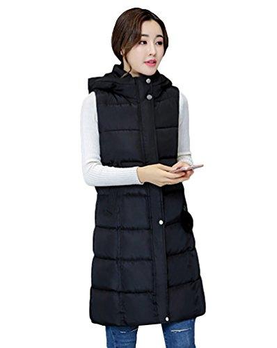 Yiiquan Chaleco acolchado largo para mujer con capucha, talla grande Negro L