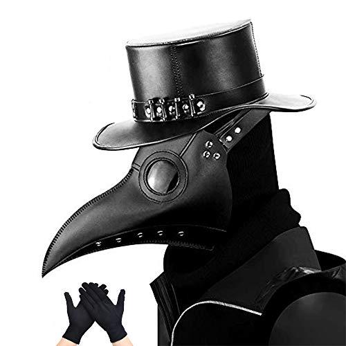 Kungfu Mall - Máscara gótica de médico de la peste negra, para cosplay, retro, estilo «steampunk», máscara de pájaro y guantes de fiesta negros para Halloween