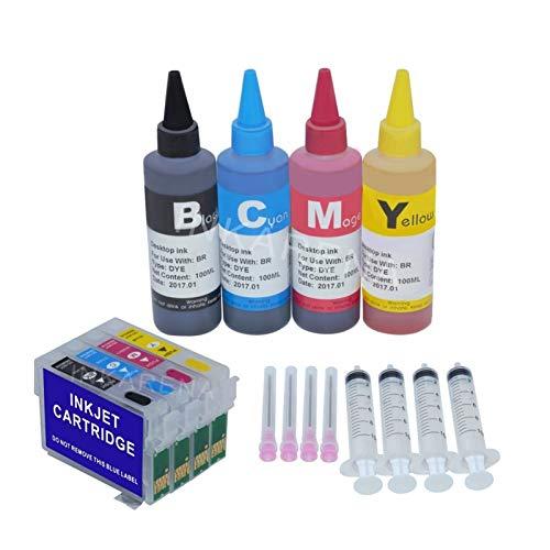 WTBH Cartucho de Tinta 100 ml Botella Recarga Tinta Dye + 73N T0731 Cartucho de Tinta para Epson CX3900 CX5900 CX4900 TX100 TX110 TX200 TX210 TX400 TX410 Impresora Reemplace el Cartucho de Tinta