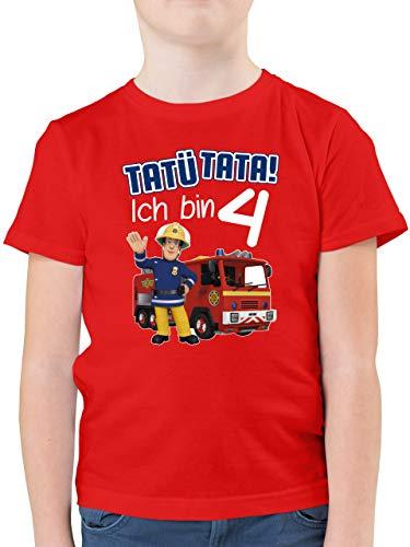 Feuerwehrmann Sam Jungen - Tatü Tata! Ich Bin 4 - blau - 116 (5/6 Jahre) - Rot - T-Shirt - F130K - Kinder Tshirts und T-Shirt für Jungen