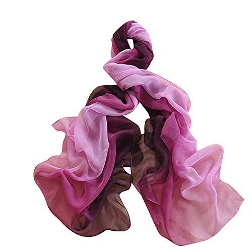 VRTUR Seiden Tuch Dame Gradient Farbe Lange Wickeln Schal Chiffon Schals
