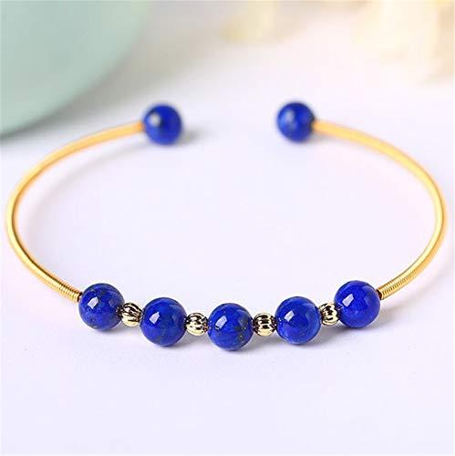 Feng Shui Riqueza Pulsera de Cristal para Mujer Lapis Naturales Lazuli 14k Pulsera de Oro Talisman para Prosperidad Dinero Buena Suerte Ward Off Evil Spirits