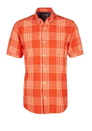 s.Oliver RED Label Herren Regular: Kariertes Button Down-Hemd orange Check XXL