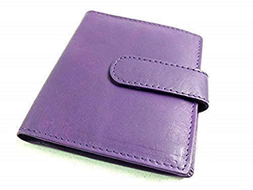 FEMMES HOMMES Neuf haute qualité véritable cuir carte de crédit ID support en diverses couleurs - Pourpre, Taille Unique