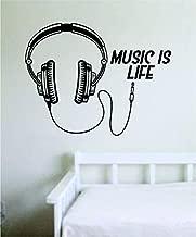 Music is Life Headphones Wall Decal Sticker Vinyl Art Bedroom Living Room Decor Decoration Teen Hip Hop Rap Electro EDM House Music Jazz Country Pop Rock Reggae RNB Sing Listen Dance Lyrics