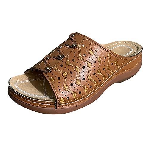 Dreamyam Women's Comfort Cut-Out Vamp Open Toe Wedge Slide Sandals Casual Bohemia...