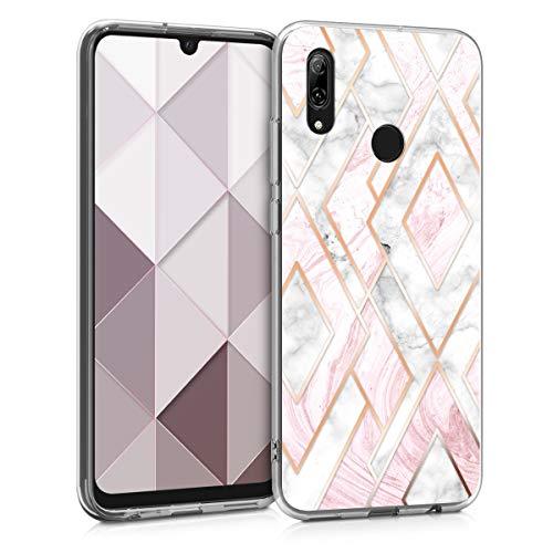 kwmobile Hülle kompatibel mit Huawei P Smart (2019) - Hülle Handy - Handyhülle Glory Mix Marmor Rosegold Weiß Altrosa