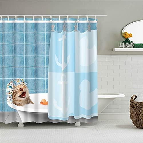 XCBN Simpatico animale Gatto Farfalla Tartaruga tenda da doccia decorazione bagno tenda da doccia tenda da doccia impermeabile A3 180x180cm