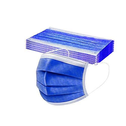DIAU 10-100 Stück Erwachsene Einweg Mundschutz Multifunktionstuch, 3-lagig Mode Maske,Weiche Staubdicht Atmungsaktive Vlies Mund-Nasenschutz Bandana Halstuch (Blau)