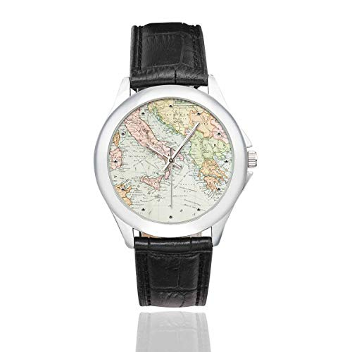 InterestPrint Cool World Map Women's Black Leather Strap Watch Waterproof Classic Watches