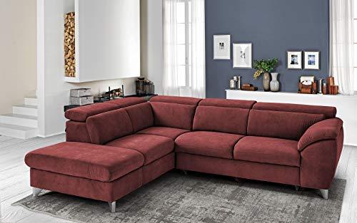 Dafnedesign. Com - Sofá esquinero de 3 plazas con chaise longue a la izquierda, color rojo burdeos - 271 x 222 x 94 cm