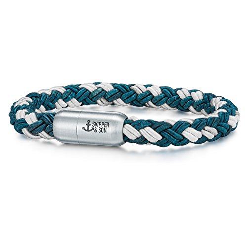 Skipper & Son Herren-Armband Segeltau blau/weiß Edelstahl - Freizeit-Armbänder Männer-Schmuck Armbänder für Surfer