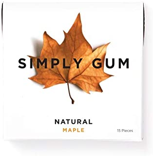 Simply Gum | Natural Chewing Gum | Maple | Pack of Six (90 Pieces Total) | Plastic Free +..