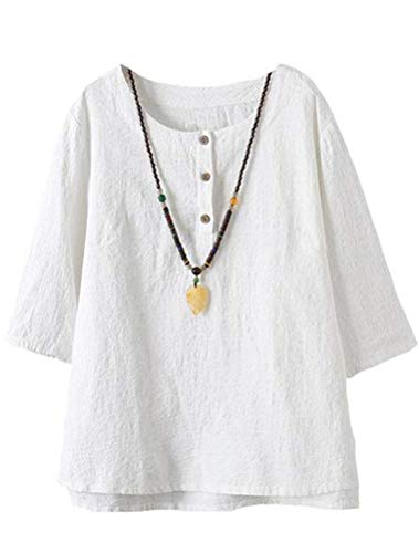 FTCayanz Women's Linen Tops Shirts Summer Casual Jacquard Tunic Blouse X-Large White