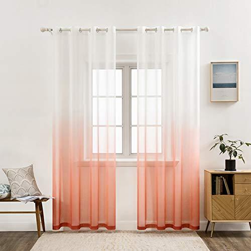MIULEE Sheer Vorhang Voile Farbverlauf Dekoschal Vorhänge mit Ösen transparent Gardine 2 Stücke Ösenvorhang Gaze paarig Fensterschal für Wohnzimmer 260 cm x 140 cm(H x B) 2er-Set Orangenpulver