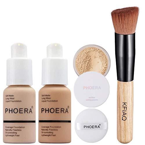 PHOERA 30ml Bases de maquillaje Correctores Líquido Concealer (Nude #102)(Buff Beige #104) con Loose Powder (Cool Beige #02) & Pincel de maquillaje Mango de madera