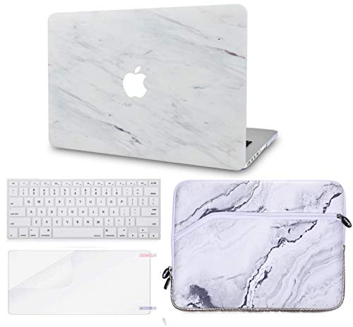 LuvCase 4 in 1 LaptopCase for MacBook Air 13 Inch (Touch ID)(2018-2020) A1932 Retina DisplayHardShellCover, Sleeve, Keyboard Cover & Screen Protector (Silk White Marble)