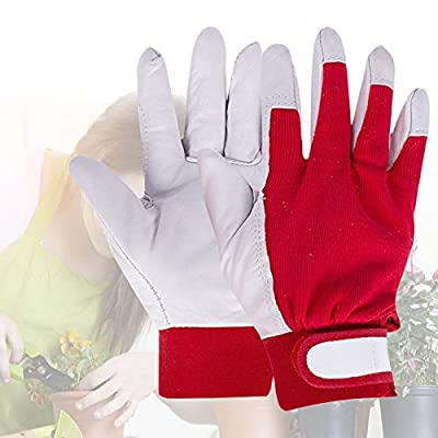 2 Pairs Leather Gardening Gloves Thorn Proof for Women Mens, Garden Gloves with Goatskin Leather Breathable Back, Yard Working Gloves for Gardening, General Purpose, Construction, Yard Work