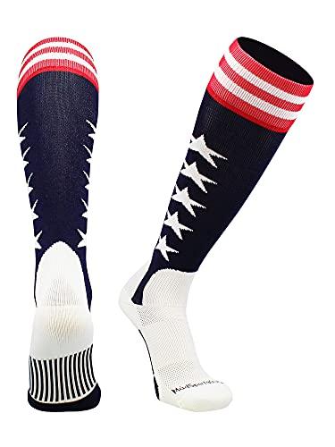 MadSportsStuff USA Flag Baseball Stirrup Socks (Navy/Red/White, Medium)