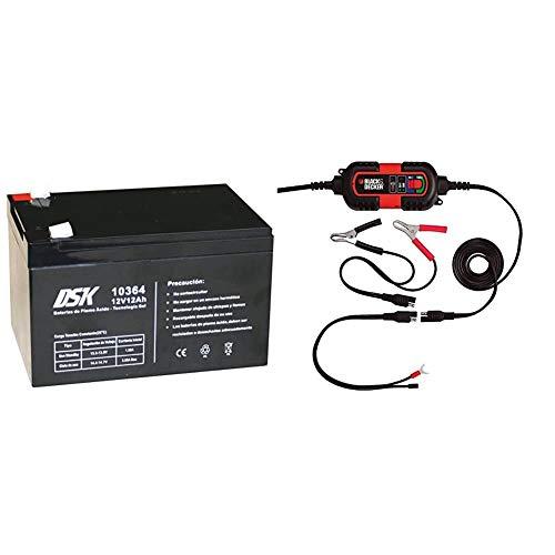 DSK 10364 - Batería Plomo tecnología Gel 12V 12 Ah, Negro Ideal para Cualquier Aparato de Movilidad eléctrica + Black & Decker BDV090 - Cargador/Mantenedor de Baterias, 6-12V