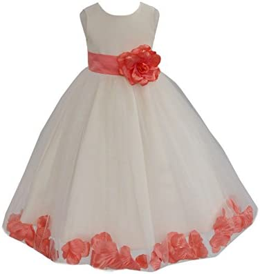 Ivory Tulle Rose Floral Petals Flower Girl Dress Girls Party Dresses 302S 16 product image