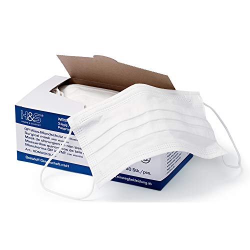 Mundschutz (OP Vlies-Mundschutz) 50 Stück-Packung von ISC H&S mit Elastikband in Komfortlänge, 3-lagig, 100% PP, mit Nasenbügel, glasfaserfrei, latexfrei (3-lagig weiß)