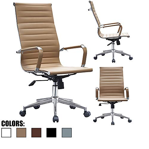2xhome - Modern High Back Tall Ribbed PU Leather Swivel Tilt...