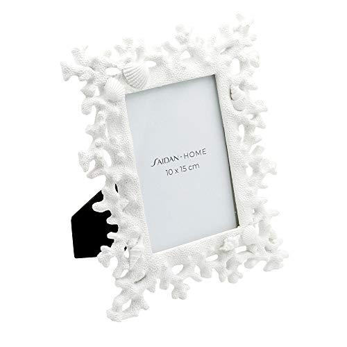 Saidan Portafotos Marco de Fotos Blanco con Conchas de mar y Coral Regalo Bautizo Boda Comunión (10 x 15 cm)