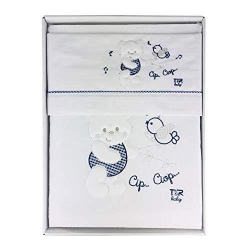 Nada Home 2913 Parure de lit 4 pièces en coton brodé avec couverture Lettino bleu