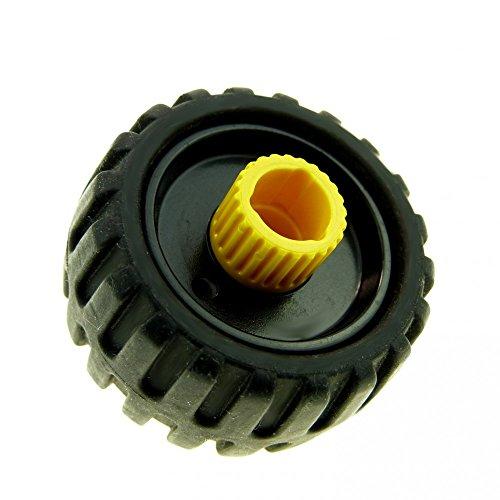 1 x Lego Duplo Toolo Rad mit Felge schwarz gelb Reifen mit Profil Fahrzeug 6292 6290