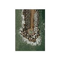 キャンバスプリントウォールアート画像オーシャンビーチランドスケープキャンバスペインティングポスター北欧グリーンスタイルウォールアート画像クアドロスリビングルームの家の装飾-E_40X60Cm_No_Frame