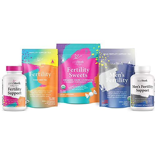 Pink Stork Premier Fertility Bundle: His + Her Conception Support with Tea, Fertility Supplements for Women + Men, Fertility Sweets, Fertility Prenatal Vitamins, Vitamin C + Chaste Berry, Women-Owned