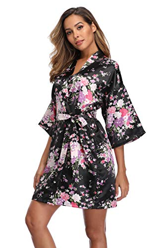 iFigure Women Floral Kimono Robe Satin Bridal Dressing Gown Bride Bridesmaid Robes Sleepwear, Black, M