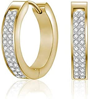 Mestige Gold Calla Hoop Earrings with Crystals from Swarovski®, Gifts Women Girls, Bridal Jewellery