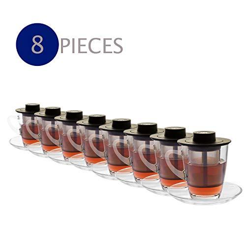 Finum HORECA SYSTEM glas met roestvrijstalen permanente filter - hittebestendige thee & koffie glazen mok - koffie glas met handvat - theeglas met filter inzet 250 ml (8 doosjes in doos)