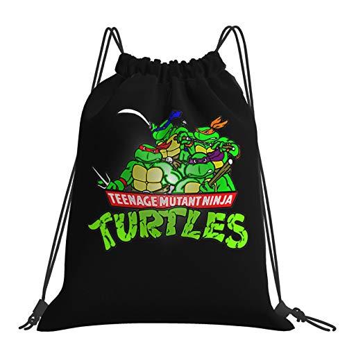 Teenage Mu-tant Ni-nja Turtles Drawstring Gym Bag Niños Escuela PE Kit Bolsa de Deportes Libro Mochila Saco de Natación