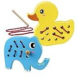 Coogam Holz Schnürung Tiere, 2PCS Ente Einfädeln Spielzeug Feinmotorik Flugzeug Auto Reisen Blockspiel Montessori Vorschule Puzzle Geschenk für 1 2 3 Jahre...