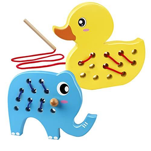 Coogam Animales de Juguete con Cordones de Madera, Rompecabezas de enhebrado de Habilidades motoras Finas de 2 Piezas, Juego de Viaje en Coche de avión Montessori Regalo para bebés de 123 años