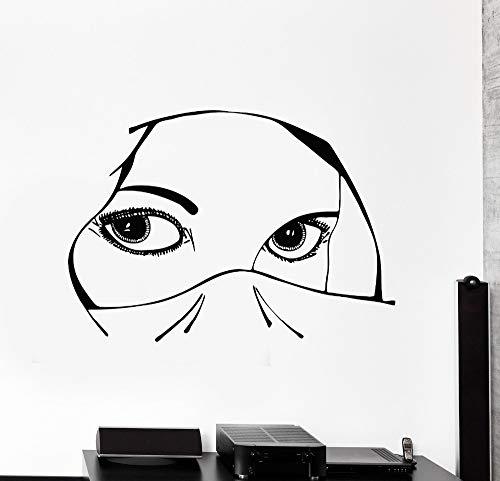 Neues Design Vinyl Aufkleber Aufkleber Augen Arabisch Schöne Frau Mädchen Dekoration Für Schlafzimmer Abnehmbare Kunstwand 62X42CM